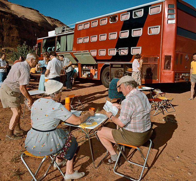 Sleeper Tour Bus at Goulding, AZ 1980