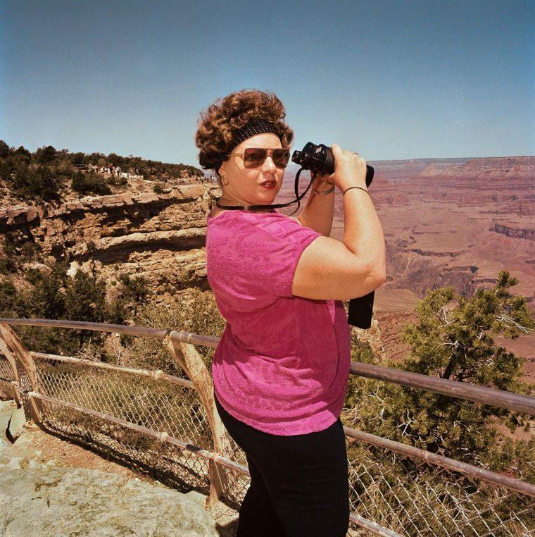 Woman with Binoculars at South Rim, Grand Canyon National Park, AZ 1980