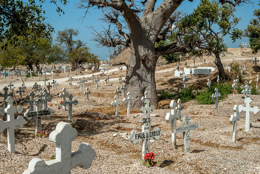 Cmentarz przy wysepce Fadiouth w Senegalu. groby równo zasypane muszlami.