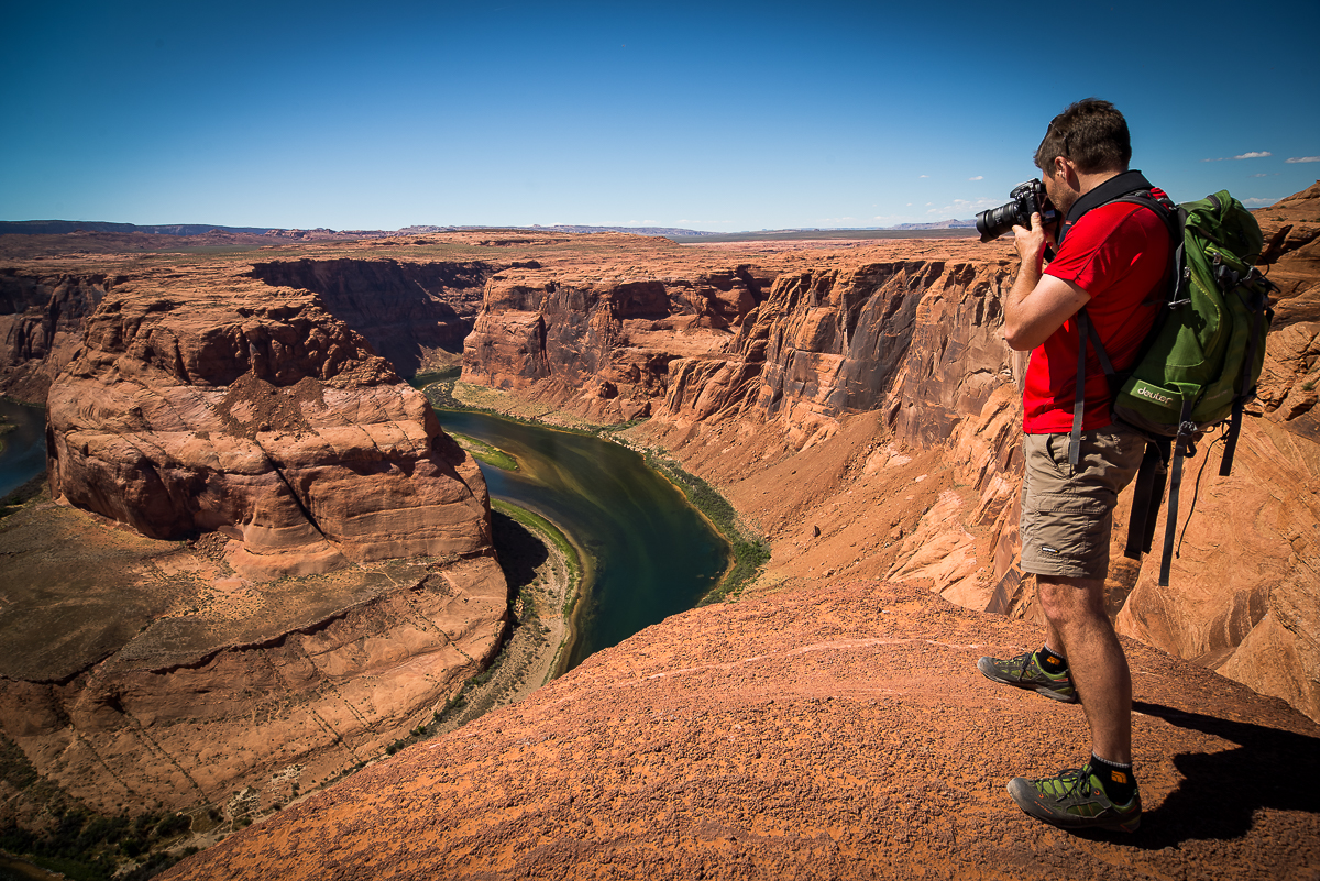 Fotografowanie nad Horseshoe Bend. (fot. Krzyś Biały)